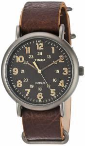[タイメックス]Timex TW2P85800 Weekender Oversize TitaniumTone/Dark Brown Leather TW2P858009J
