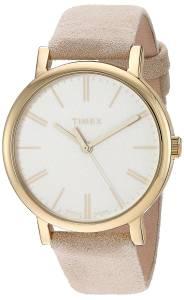 [タイメックス]Timex 'Originals' Quartz Brass and Leather Dress Watch, Color:Beige TW2P96200ZA