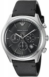 [エンポリオアルマーニ]Emporio Armani  Dress Black Leather Quartz Watch AR1975 メンズ