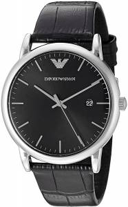 [エンポリオアルマーニ]Emporio Armani  Dress Black Leather Quartz Watch AR2500 メンズ