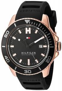 [トミー ヒルフィガー]Tommy Hilfiger  Quartz Gold and Silicone Watch, Color:Black 1791266