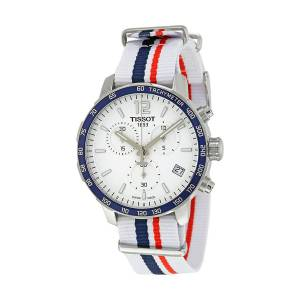 [ティソ]Tissot Quickster Nato Chronograph T095.417.17.037.09 White/White with Blue T0954171703709