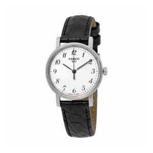 [ティソ]Tissot  Everytime White/Black Leather Analog Quartz Watch T109.210.16.032.00