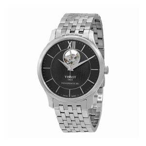 [ティソ]Tissot  Tradition Automatic Open Heart T063.907.11.058.00 Black/Silver T0639071105800
