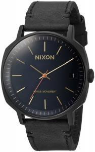 [ニクソン]NIXON 'Regent II' Swiss Quartz Stainless Steel and Leather Watch, Color:Black A9732315
