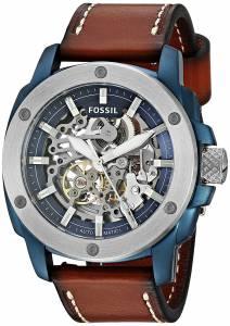[フォッシル]Fossil  Automatic Stainless Steel and Leather Casual Watch, Color:Brown ME3135