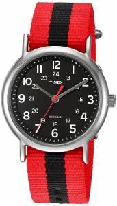 [タイメックス]Timex  Weekender Red/Black Stripe Nylon SlipThru Strap Watch TWC0308009J