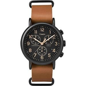 [タイメックス]Timex  Weekender Chrono Oversized Watch Black Dial/Brown Strap TW2P97500JV