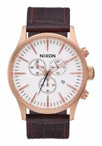 [ニクソン]NIXON 腕時計 Sentry Chrono Leather Watch Rose Gold/ Brown Gator A4052459