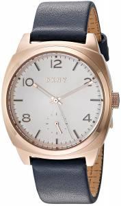 [ダナキャラン]DKNY 'Broome' Quartz Stainless Steel and Leather Casual Watch, Color:Blue NY2538