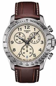 [ティソ]Tissot  V8 Ivory / Brown Leather Analog Quartz Watch T106.417.16.262.00 メンズ
