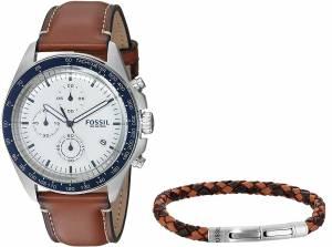 [フォッシル]Fossil  Sport 54 Chronograph Luggage Leather Watch and Bracelet Box Set CH3090SET