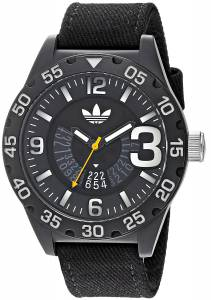 [アディダス]adidas  'Newburgh' Quartz Plastic and Nylon Casual Watch, Color:Black ADH3157