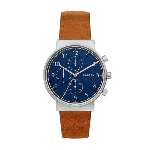 [スカーゲン]Skagen 腕時計 Ancher Brown Leather Chronograph Watch SKW6358 メンズ