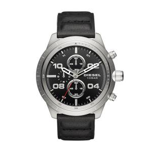 [ディーゼル]Diesel 腕時計 Padlock Stainless Steel Black Leather Watch DZ4439 メンズ