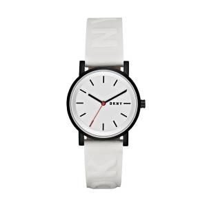 [ダナキャラン]DKNY 'SoHo' Quartz Stainless Steel and Leather Casual Watch, Color:White NY2602