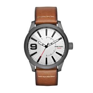 [ディーゼル]Diesel 腕時計 Rasp Gunmetal IP Brown Leather Watch DZ1803 メンズ