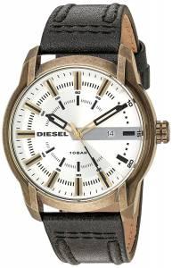 [ディーゼル]Diesel 'Armbar' Quartz Stainless Steel and Leather Casual Watch, Color:Brown DZ1812