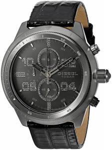 [ディーゼル]Diesel 腕時計 Padlock Gunmetal IP and Black Leather Watch DZ4437 メンズ