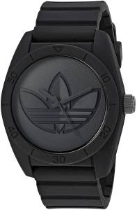 [アディダス]adidas  'Santiago' Quartz Rubber and Silicone Casual Watch, Color:Black ADH3199