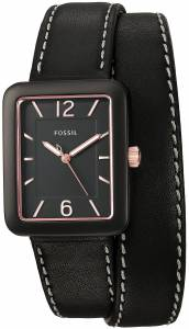 [フォッシル]Fossil 腕時計 Atwater ThreeHand Black Leather Wrap Watch ES4193 レディース