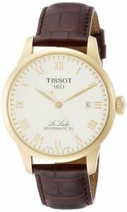 [ティソ]Tissot  Powermatic 80 Silver Dial Brown Leather Strap Watch T0064073626300 メンズ