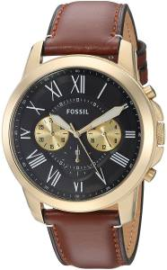 [フォッシル]Fossil 腕時計 Grant Chronograph Light Brown Leather Watch FS5297 メンズ