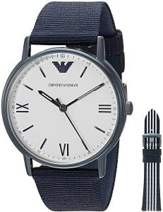 [エンポリオアルマーニ]Emporio Armani Quartz Stainless Steel and Nylon Dress Watch, AR80005