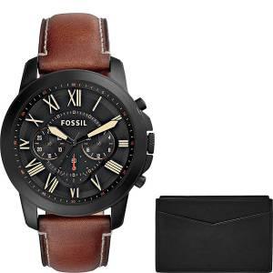[フォッシル]Fossil Grant Chronograph Light Brown Leather Watch and Card Case Box Set FS5335SET