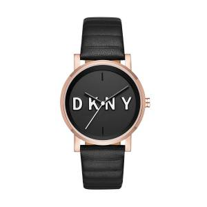 [ダナキャラン]DKNY 'Soho' Quartz Stainless Steel and Leather Casual Watch, Color:Black NY2633