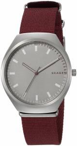 [スカーゲン]Skagen 'Grenen' Quartz Stainless Steel and Leather Casual Watch, Color:Red SKW6386