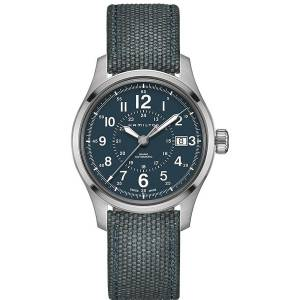 [ハミルトン]Hamilton  Blue 40mm StainlessSteel Khaki Field Auto Watch H70305943 メンズ
