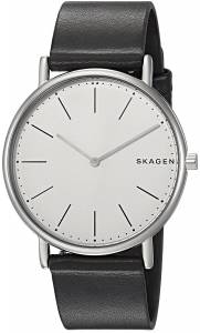[スカーゲン]Skagen  'Signatur' Quartz Titanium and Leather Casual Watch, Color:Black SKW6419