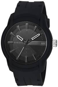 [ディーゼル]Diesel  'Armbar' Quartz Resin and Silicone Casual Watch, Color:Black DZ1830