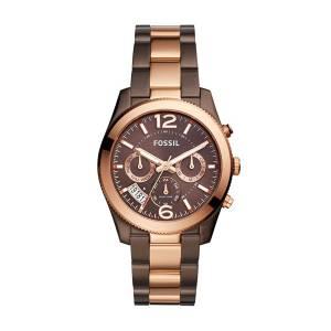 [フォッシル]Fossil 'Perfect Boyfriend' Quartz Stainless Steel Casual Watch, Color:Brown ES4284