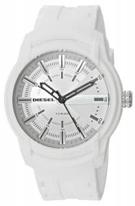 [ディーゼル]Diesel  'Armbar' Quartz Resin and Silicone Casual Watch, Color:White DZ1829