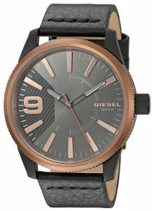 [ディーゼル]Diesel 'Rasp' Quartz Stainless Steel and Leather Casual Watch, Color:Black DZ1841