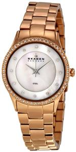 スカーゲン 時計 Skagen Womens 347SRXR Denmark White Mother-Of-Pearl Dial Watch