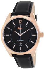 ラコステ 時計 Lacoste Mens Goa 2010582 Black Leather Analog Quartz Watch with Black Dial