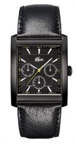 ラコステ 時計 Lacoste Berlin Black Dial Black Leather Strap Mens Watch 2010589
