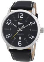 ラコステ 時計 Lacoste Mens Black Leather Watch 2010499