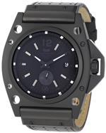ベスタル 時計 Vestal Mens DEC003 Decibel Matte Black Ion-Plated Black Leather Watch
