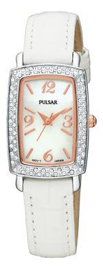 パルサー 時計 Pulsar PTC503 Womens Crystal Mother-of-Pear Dial White Leather Strap Watch