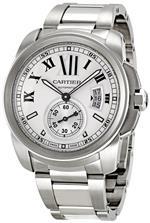 カルティエ 時計 Cartier Mens W7100015 Calibre de Cartier Silver Opaline Dial Watch