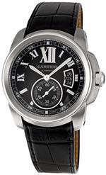 カルティエ 時計 Cartier Mens W7100041 Calibre de Cartier Leather Strap Watch