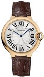カルティエ 時計 Cartier Ballon Bleu Extra Large Silver Dial 18kt Rose Gold Leather Mens Watch