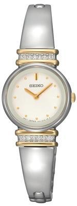 セイコー 時計 Seiko Womens SUJG32 Crystal Bangle White Dial Watch