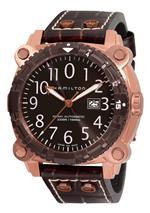 ハミルトン 時計 Hamilton Mens H78525533 Khaki Navy BelowZero Gold Tone Grey Dial Watch