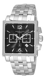 ハミルトン 時計 Hamilton Mens H32666135 Jazzmaster Black Square Chronograph Dial Watch