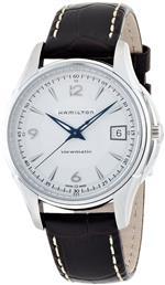 ハミルトン 時計 Hamilton Mens H32455557 JazzMaster Viewmatic Silver Dial Brown Strap Watch